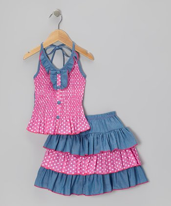 Pink Polka Dot Halter Top & Tiered Skirt - Infant, Toddler & Girls