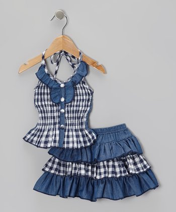 Blue Checkerboard Halter Top & Tiered Skirt - Toddler & Girls