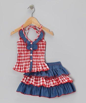 Red Checkerboard Halter Top & Tiered Skirt - Toddler & Girls