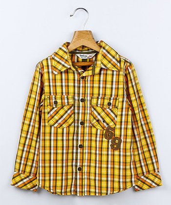 Yellow Plaid Button-Up - Boys