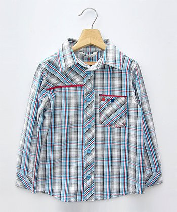 Blue Plaid Pocket Button-Up - Boys
