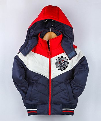 Navy Patch Quilted Coat - Infant, Toddler & Boys