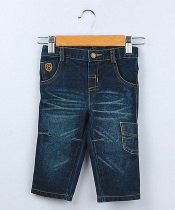 Dark-Wash Distressed Straight-Leg Jeans - Infant
