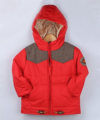 Red Herringbone Quilted Coat - Infant & Toddler