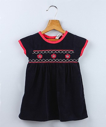 Navy Flower Smocked Dress - Infant & Toddler