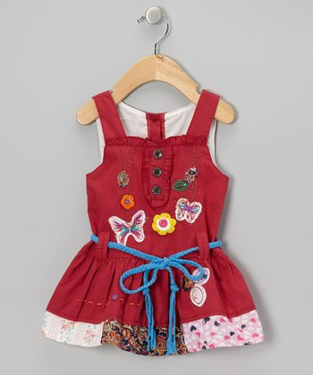 Red Butterfly Patchwork Dress - Infant, Toddler & Girls