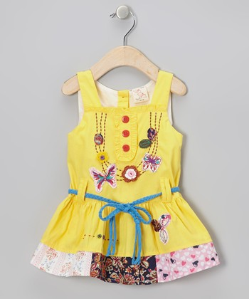 Yellow Butterfly Patchwork Dress - Infant, Toddler & Girls