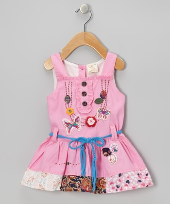 Pink Butterfly Patchwork Dress - Infant, Toddler & Girls