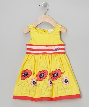 Yellow Stripe Flower Dress - Infant, Toddler & Girls
