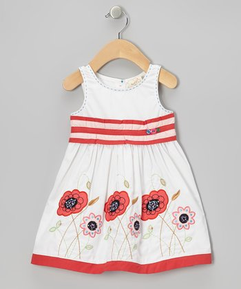 White & Pink Stripe Flower Dress - Infant, Toddler & Girls