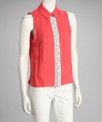 Coral Studded Sleeveless Top