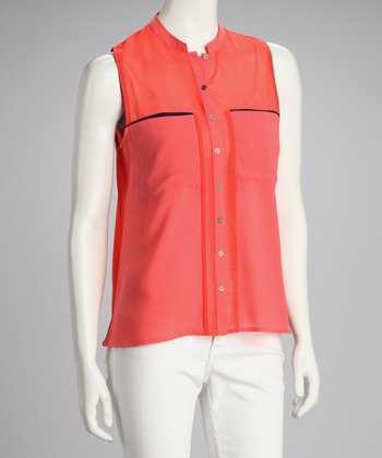 Coral Double Pocket Sleeveless Top