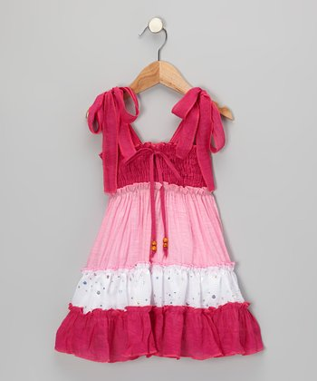 Fuchsia & Pink Tiered Convertible Dress - Toddler & Girls