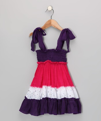Purple & Fuchsia Tiered Convertible Dress - Toddler & Girls