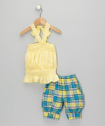 Yellow Halter Top & Blue Plaid Capri Pants - Toddler & Girls