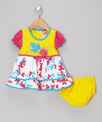 Yellow & Red Floral Ruffle Dress & Diaper Cover - Infant