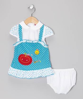 Blue & White Polka Dot Layered Dress & Diaper Cover - Infant