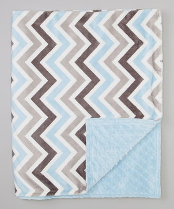 Blue & Gray Zigzag Toddler Blanket