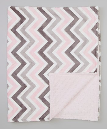 Pink & Gray Zigzag Receiving Blanket