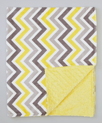 Lemon & Gray Zigzag Receiving Blanket