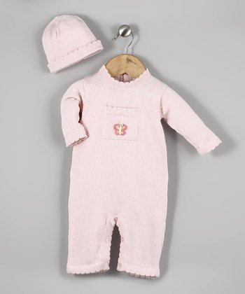 Pink Butterfly Knit Playsuit & Beanie - Infant