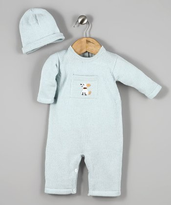 Light Blue Puppy Playsuit & Beanie - Infant