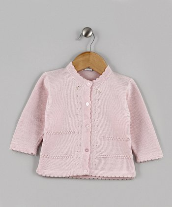 Pink Rosette Scallop Trim Knit Cardigan - Infant & Toddler