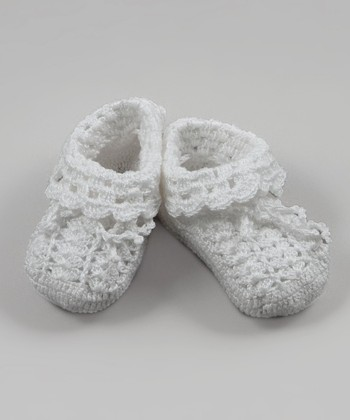 White Fold-Over Crocheted Bootie