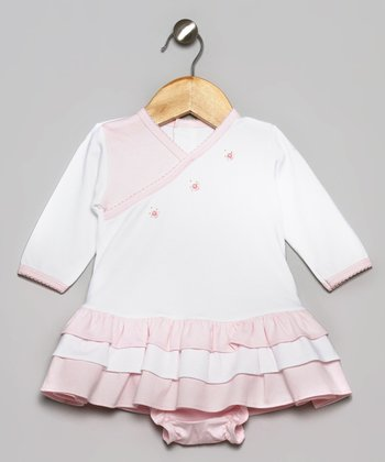 White & Pink Pretty Bow Ruffle Dress & Diaper Cover
