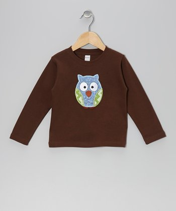 Brown & Blue Owl Tee - Toddler