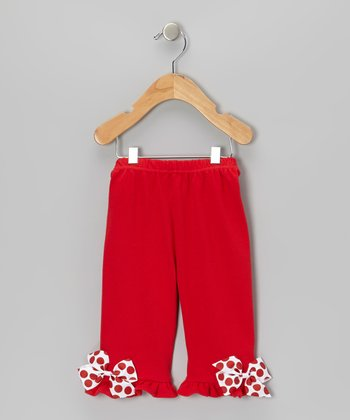 Red Christmas Bow Ruffle Pants - Infant & Toddler