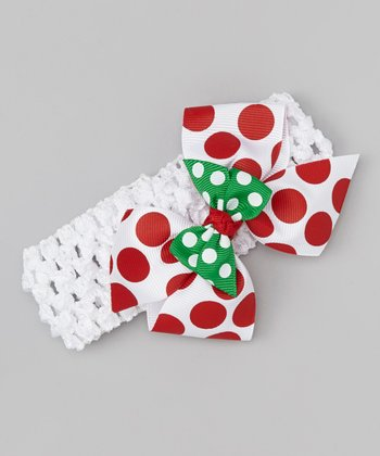White & Red Polka Dot Bow Headband