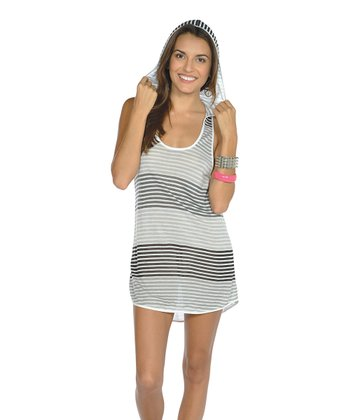 Black Stripe Hooded Cover-Up