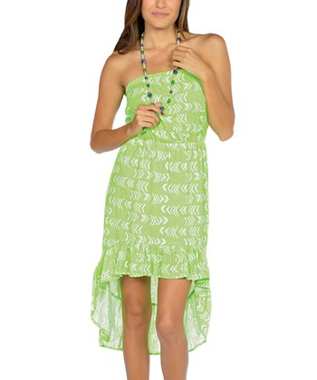 Neon Green Strapless Hi-Low Dress