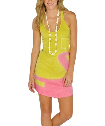 Yellow & Pink Tie-Dye Sun-Kissed Tank Dress