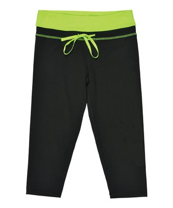 Black & Neon Green Capri Pants