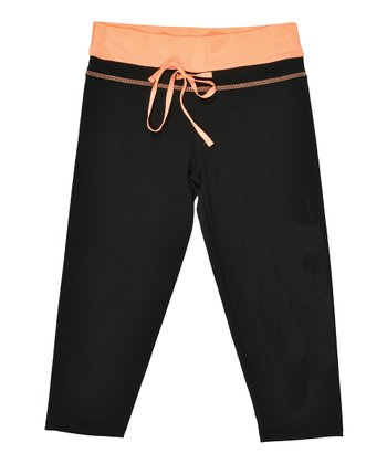 Black & Neon Orange Capri Pants