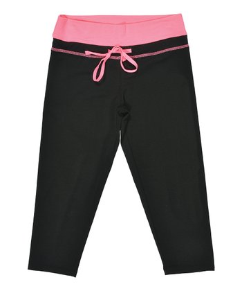 Black & Neon Pink Capri Pants