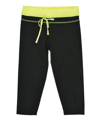 Black & Neon Yellow Capri Pants