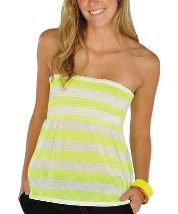 Neon Yellow Stripe Shirred Tube Top