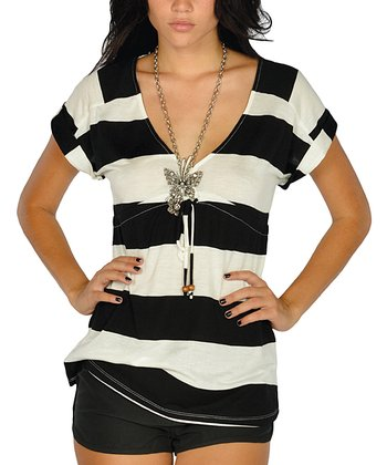 Black Stripe Drawstring V-Neck Top