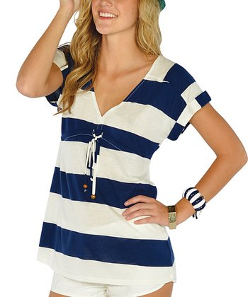 Navy Stripe Drawstring V-Neck Top