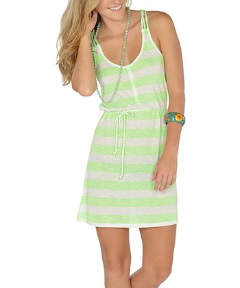 Neon Green Stripe Braided Racerback Dress