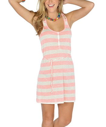 Neon Pink Stripe Braided Racerback Dress