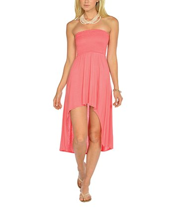 Coral Shirred Strapless Hi-Low Dress