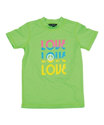 Neon Green & Yellow 'Love' Rashguard