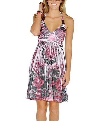 Fuchsia Beaded Sublimation Dress