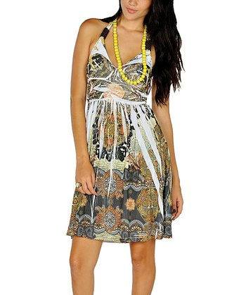 Yellow Beaded Sublimation Dress