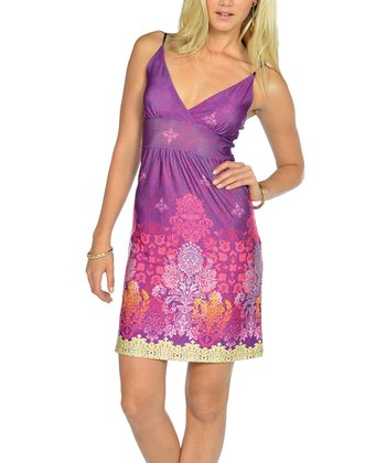 Purple V-Neck Dress