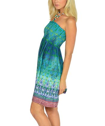 Green Beaded Batik Halter Dress